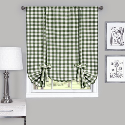 Buffalo Check Window Curtain Tie Up Shade - 42x63 - Sage