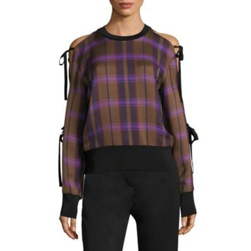 3.1 PHILLIP LIM Plaid Cold-Shoulder Tie-Sleeve Top
