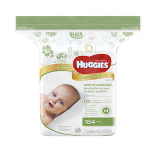 Huggies Natural Care Baby Wipes, Unscented, Refill, 184CT