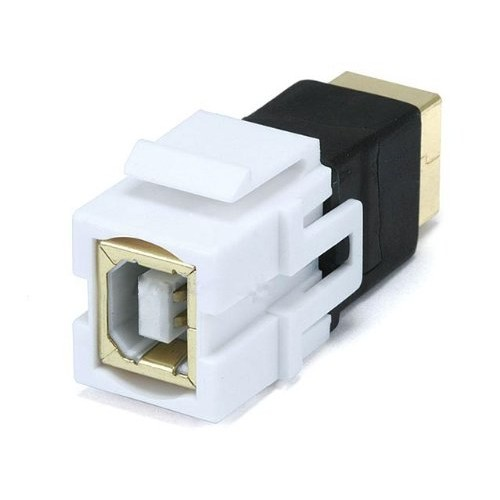 Monoprice 106562 Keystone Jack-USB 2.0 B Female to B Female Coupler Adapter Flush Type, White [1]