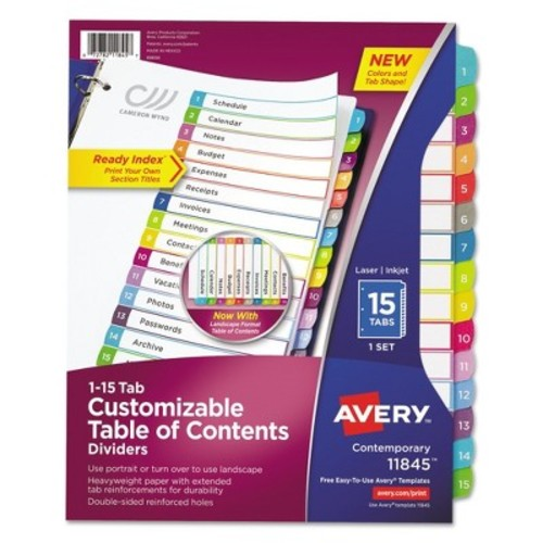 Avery Ready Index Table of Contents Dividers, Multicolor Tabs, 1-15, Letter