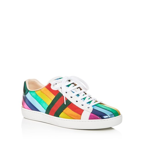 GUCCI Metallic Rainbow Stripe Lace Up Sneakers