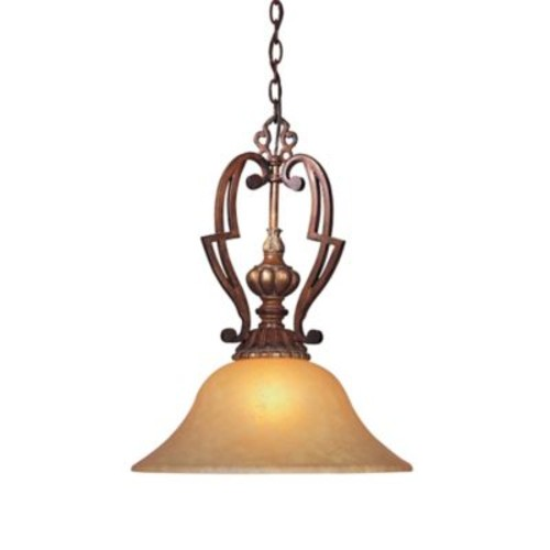 Minka Lavery Belcaro Pendant Light in Walnut with Aged Champagne Glass Shade