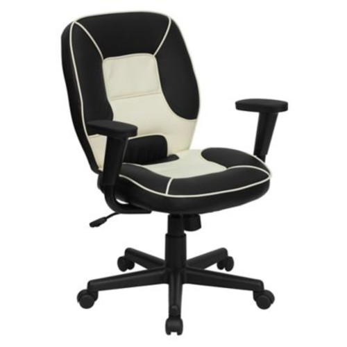 Flash Furniture Vinyl Office Arm Chair with Casters in Black/Cream