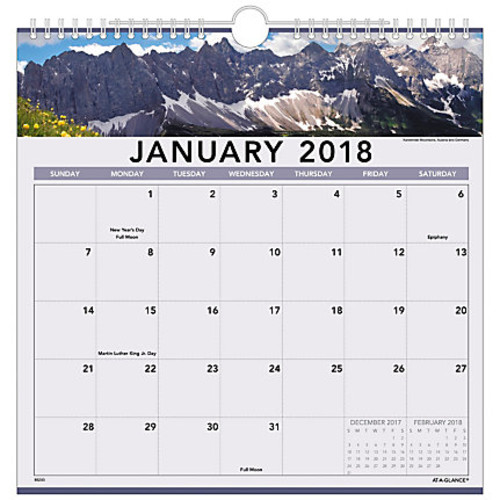 AT-A-GLANCE Landscape Monthly Wall Calendar, 12