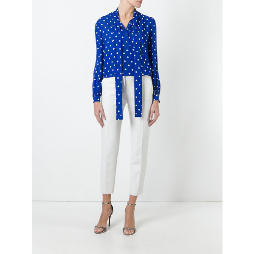 SAINT LAURENT Polka-Dot Pussybow Blouse