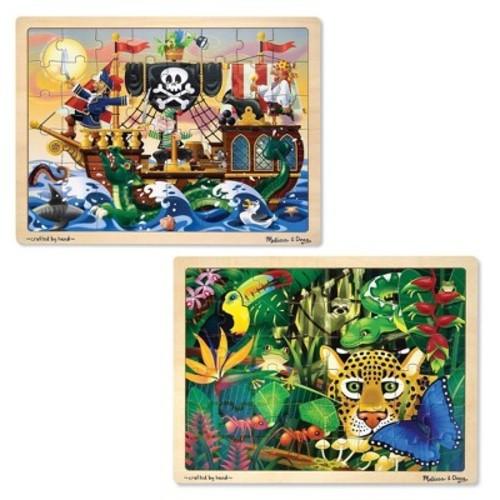 Melissa & Doug Wooden Jigsaw Puzzles Set - Rainforest Animals and Pirate Ship (48 pcs): Melissa & Doug: Toys & Games