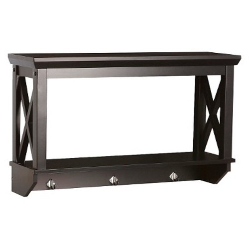 X-Frame Collection Wall Shelf with Hooks - RiverRidge