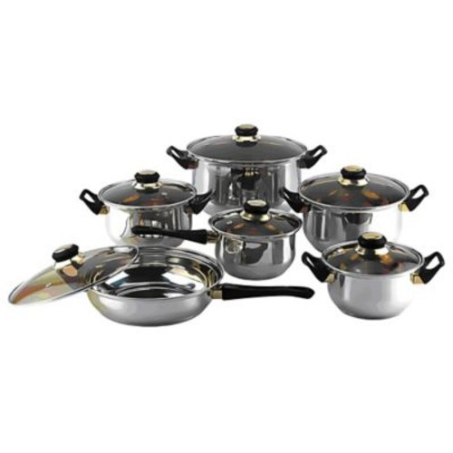 Gourmet Chef Gourmet Chef 12 Stainless Steel Piece Cookware Set; Tinted
