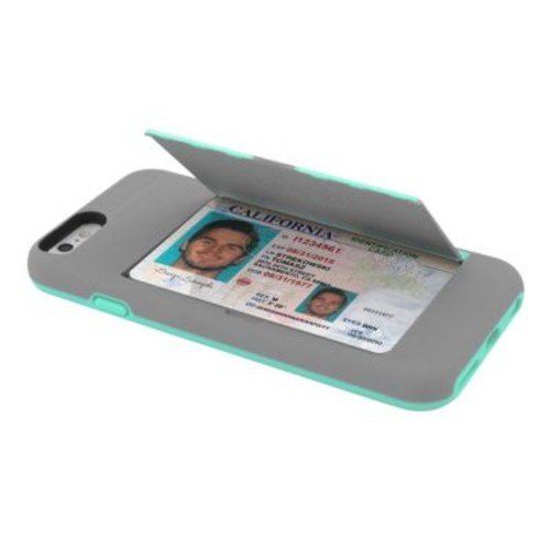 Incipio STOWAWAY Credit Card Case with Integrated Stand for iPhone 6/6s, Gray/Teal (IPH1185GRYTEAL)