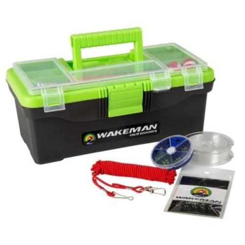 Wakeman Lime Green Fishing Single Tray Tack Box Tackle Kit (55-Pieces)