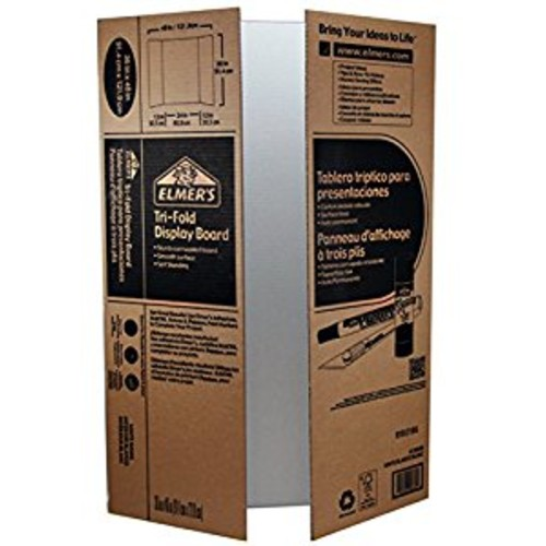 Elmer's Corrugated Tri-Fold Display Boards, 36 x 48 Inches, 1-Ply, White Inside/Kraft Outside, Case of 25 Boards (730300)