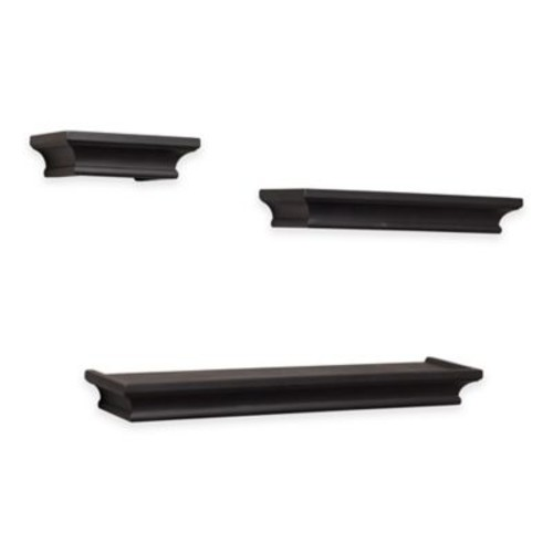 Danya B. 3-Piece Cornice Ledge Shelves Set in Black