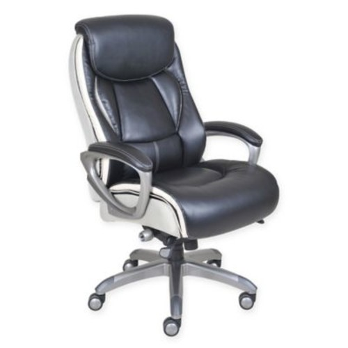 Serta Tranquil Leather Executive Office Chair in Black