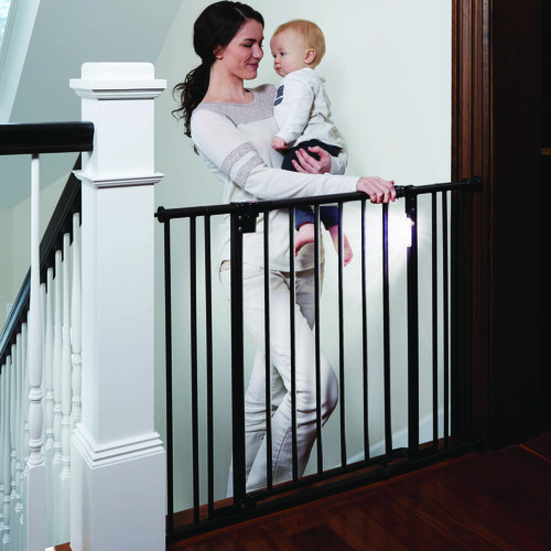 North States Light the Way 28.5 inch to 38.25 inch Lighted Baby Safety Gate - Matte Bronze