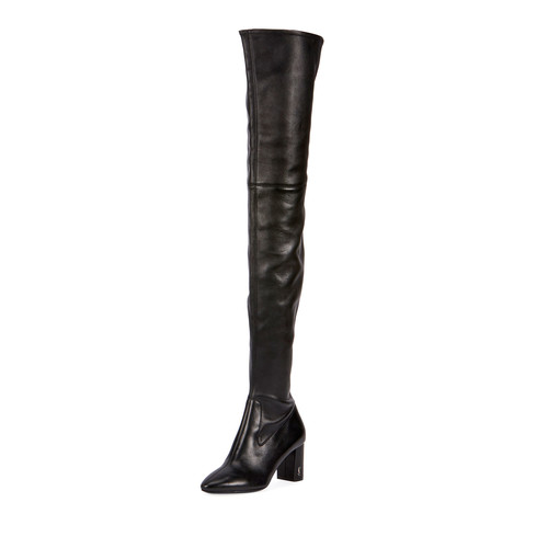 SAINT LAURENT Loulou Stretch-Napa Over-The-Knee Boot, Black
