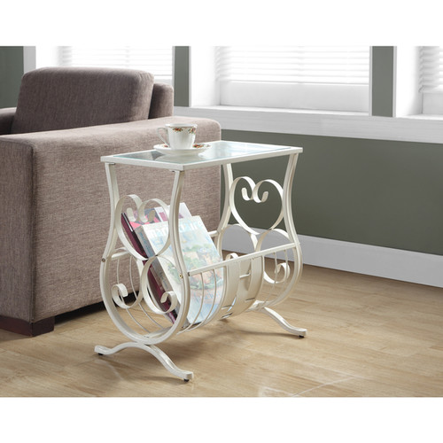 Antique White Metal Magazine Table with Tempered Glass