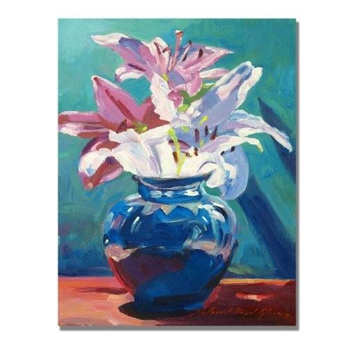 Lilies in Blue by David Lloyd Glover, 18x24-Inch Canvas Wall Art [18 by 24-Inch]