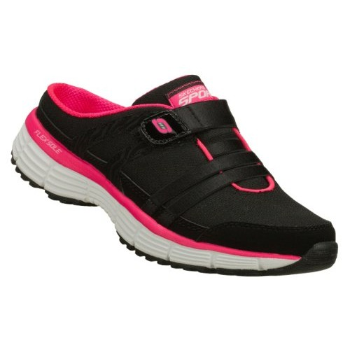 Skechers Agility Kick Back Womens Sneaker Clogs Black/Hot Pink 10