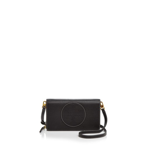 TORY BURCH Perforated Logo Flat Leather Wallet Crossbody