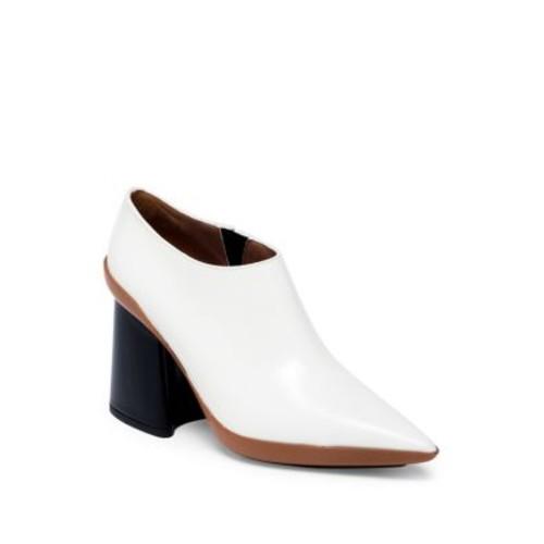 MARNI Two-Tone Leather Point Toe Block-Heel Booties
