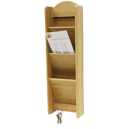 Home Basics Tan Bamboo 3-tier Letter Rack with Hooks