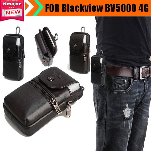 Genuine Leather Carry Belt Clip Pouch Waist Purse Case Cover for Blackview BV5000 4G Waterproof SmartPhone Drop