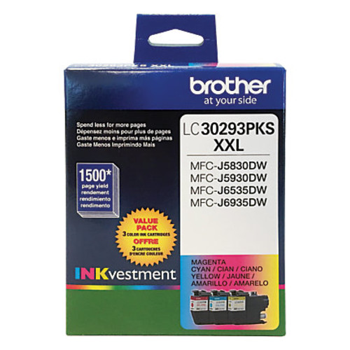 Brother INKvestment LC30293PKS High-Yield Cyan/Magenta/Yellow Ink Cartridges, Pack Of 3