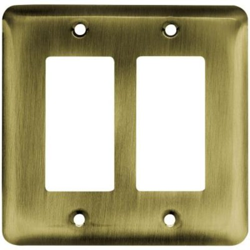 Liberty Stamped Round Decorative Double Rocker Switch Plate, Antique Brass