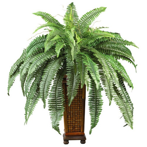 Nearly Natural Boston Fern Silk Plant with Wood Vase