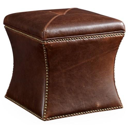 Manchester Storage Ottoman, Brwn Leather