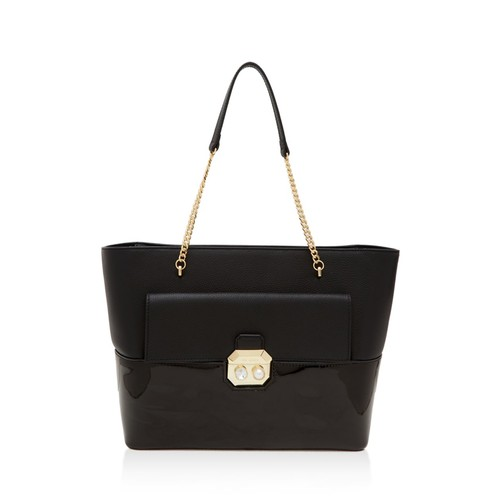 TED BAKER Crystal And Faux-Pearl Lock Leather Tote