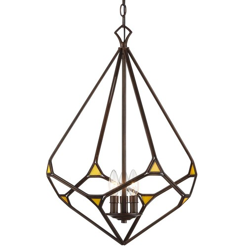 Varaluz Gemma Stone 3-Light Rustic Bronze Teardrop Pendant with Yellow Art Glass