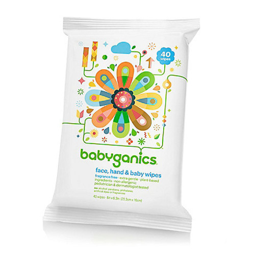 Babyganics 40-Count Fragrance-Free Face, Hand & Baby Wipes