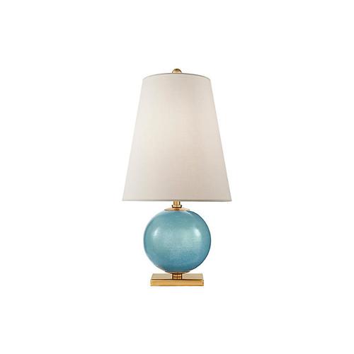 Corbin Table Lamp, Sandy Turquoise/Brass