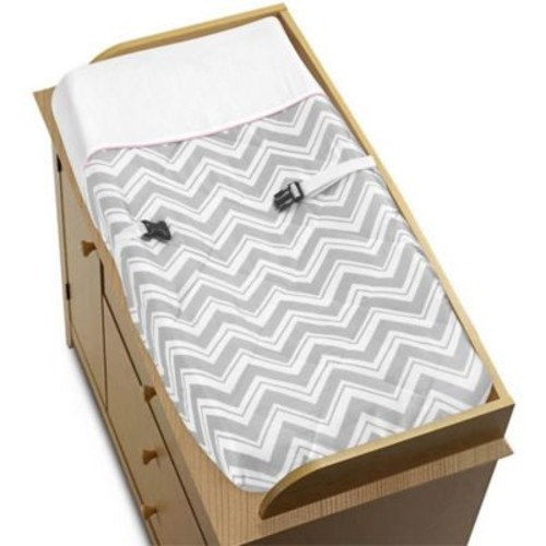 Sweet Jojo Designs Zigzag Changing Pad Cover in Pink/Grey