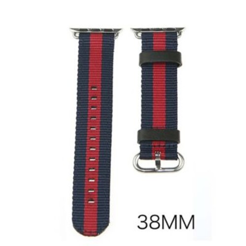 iPM Leather & Nylon Band with Buckle for Apple Watch-38mm-Blue/Red Stripe (LN38BLWRST)