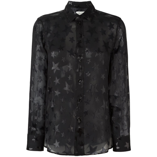 SAINT LAURENT Star Pattern Sheer Shirt