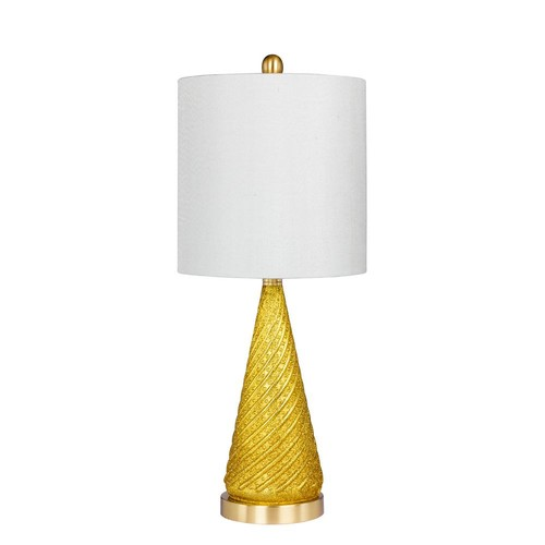 Fangio Lighting 24.5 in. Glass and Metal Table Lamp in a Gold Glitter and Satin Brass