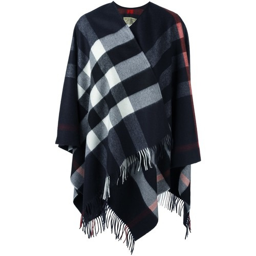 BURBERRY Checked Fringed Poncho