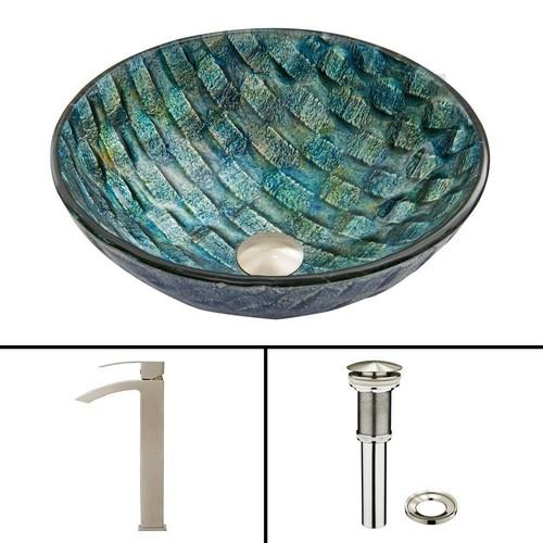 VIGO Glass Vessel Sink in Oceania and Duris Faucet Set in Brushed Nickel