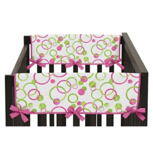 Sweet Jojo Designs Mod Circles Side Crib Rail Guard Covers in Hot Pink/White (Set of 2)