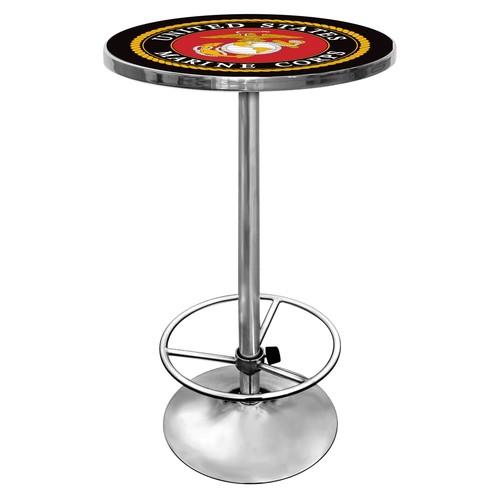 Trademark United States Marine Corps Chrome Pub/Bar Table
