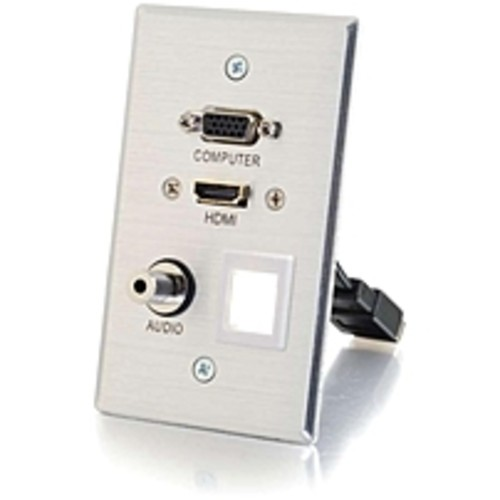 C2G HDMI, VGA, 3.5mm Audio and USB Pass Through Wall Plate - Single G