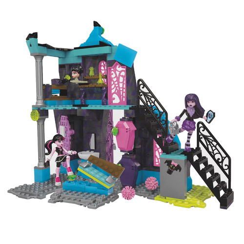 Mega Bloks Monster High School Fang Out School Play Set w/Draculaura and Elissabat Dolls: Toys & Games