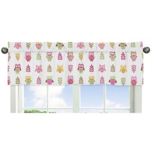 Sweet Jojo Designs Happy Owl Window Valance in Pink/White