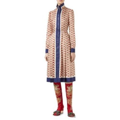 GUCCI Gun-Print Silk Zip-Front Dress