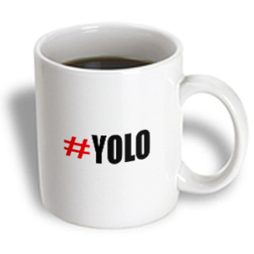 3dRose - ToryAnne Collections Abbreviations - #YOLO red and black you only live once - 11 oz mug