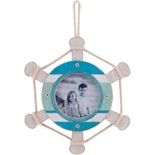 4x4 Ivory and Blue Ships Wheel Hanging Picture Frame