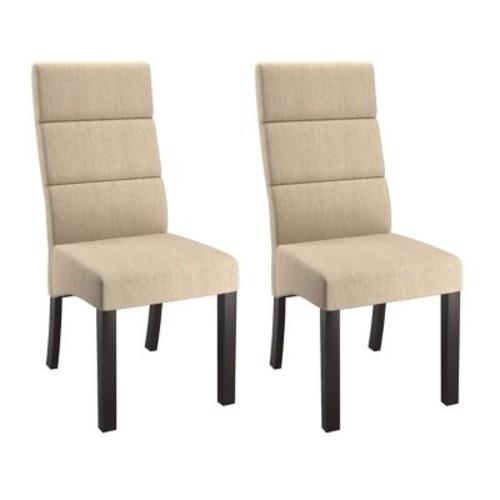 CorLiving Antonio Fabric Tall Back Dining Chairs, Cream - Set of 2 (DPP-310-C)